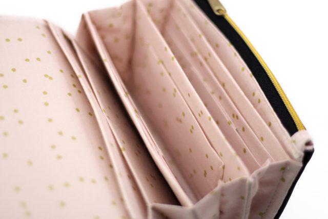 Little Ruby Geldbörse Hansedelli rosa goldene Punkte Innenansicht metallisierter Reißverschluss gold Portemonnaie nähen Geldbeutel Schnittmuster