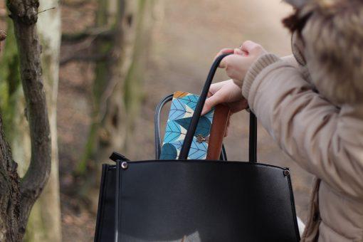 Little Ruby Hansedelli Blätter Canvas petrol senf Druckknopf Baum Tasche Kunstleder Geldbörse Schnittmuster Portemonnaie nähen