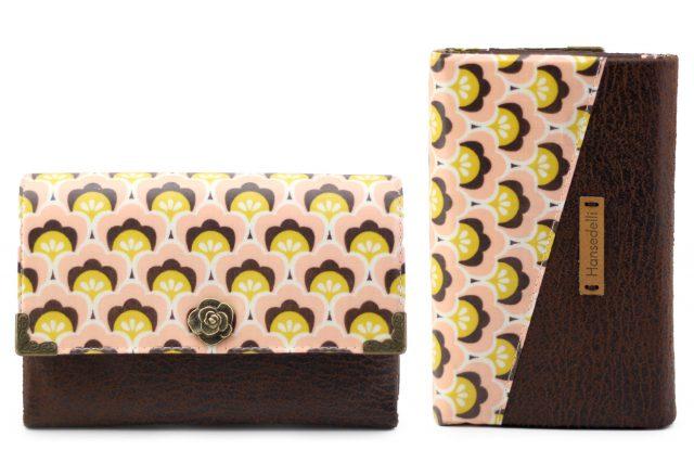 Little Ruby Hansedelli Metalldruckknopf Blume Shell Wachstuch rosa gelb braun Geldbörse Schnittmuster Portemonnaie nähen