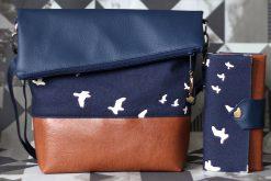 Set FoldOver Tasche und Geldbörse Ruby von Hansedelli Birch Vögel Bio-Canvas blau FoldOver Tasche nähen Portemonnaie Schnittmuster