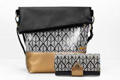 Tasche FoldOver und Geldbörse Onyx von Hansedelli nähe schwarz weiß Kupfergold Schnittmuster