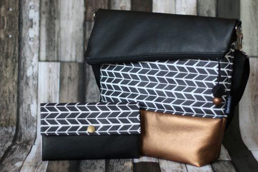 Set FoldOver Tasche und Geldbörse Ruby von Hansedelli geometrischen Muster Pfeile schwarz weiß FoldOver Tasche nähen Portemonnaie Schnittmuster