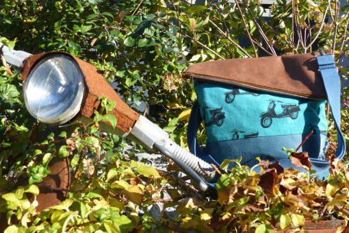 FoldOver 2.0 Hansedelli Roller türkis blau braun Kunstleder Echino Rucksacktasche nähen Fold Over Tasche Schnittmuster