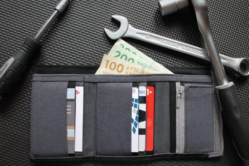 Mr Ryks Hansedelli grau schwarz Werkzeug Männergeldbörse nähen Portemonnaie für Männer Schnittmuster Kindergeldbörse