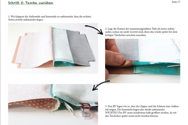 Einblick ins Ebook Kosmetiktasche Hansedelli Reißverschluss nähen Kosmetiktasche Schnittmuster