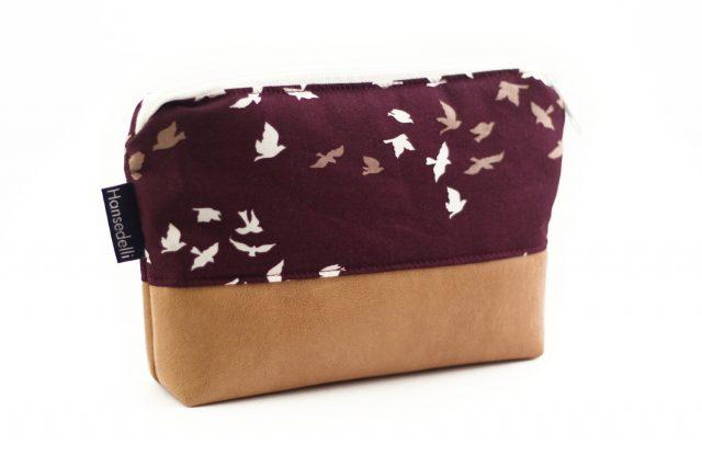 Kosmetiktasche rot bordeaux Vögel mit Reißverschluss nähen Hansedelli Schnittmuster Kosmetiktasche