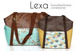 Lexa Hansedelli Lexa big Weekender nähen Businessbag Schnittmuster Shopper Bürotasche Nähanleitung Reisetasche mint Vögel Au maison Wachstuch gelb