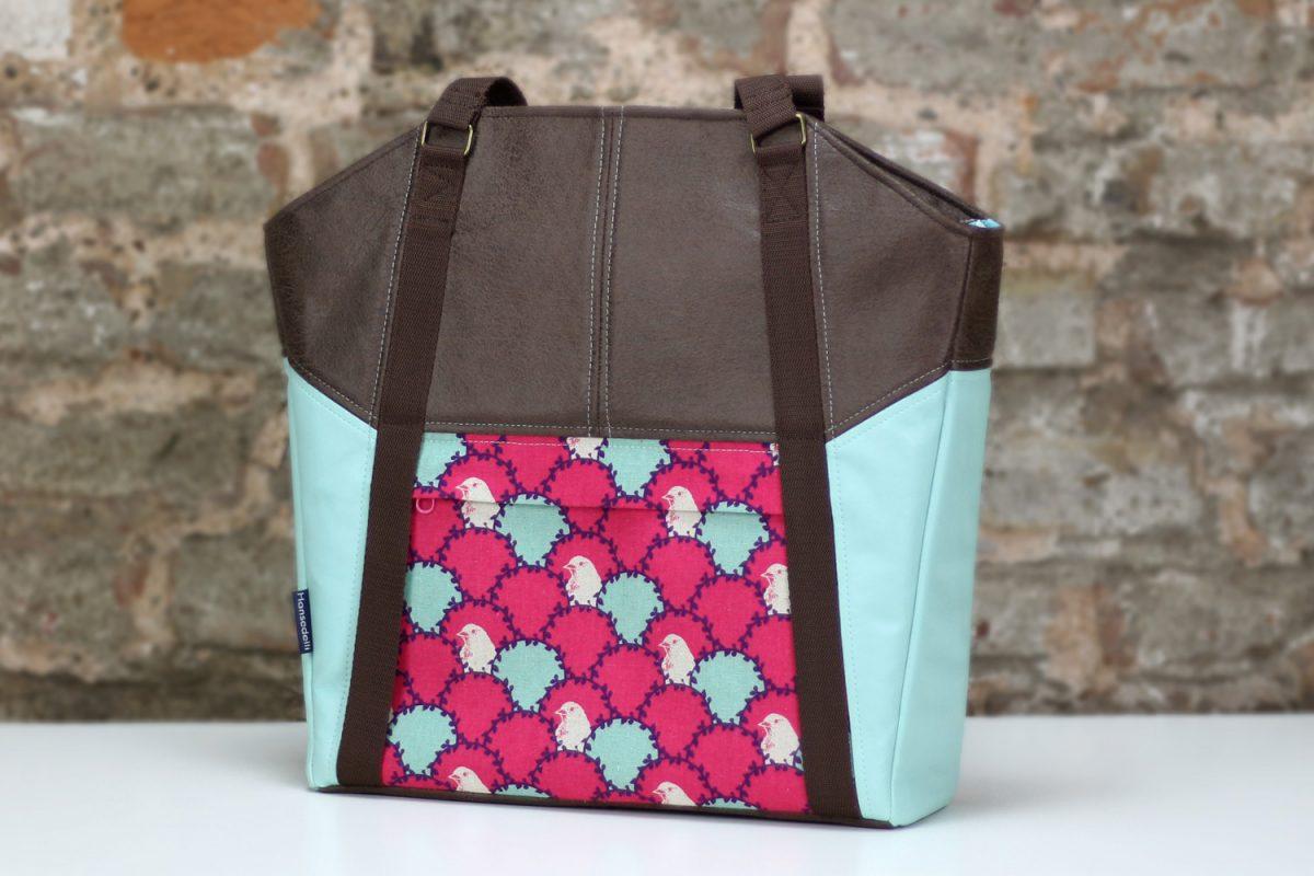Tasche Lexa Hansedelli mint pink Vögel Echino Canvas Kunstleder braun Shopper nähen Businessbag Schnittmuster Bürotasche