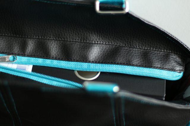 Shopper Lexa Hansedelli Ordner Platz Innen Kunstleder schwarz türkis Shopper Tasche nähen Businessbag Schnittmuster