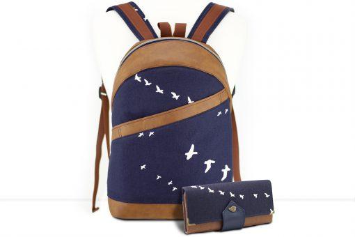 Rucksack ROANA und Geldbörse Ruby von Hansedelli Birch Bio-Canvas Vögel blau maritim