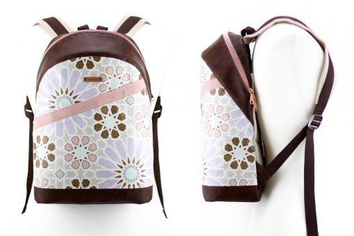 Rucksack ROANA Hansedelli Mosaik Mandala rosa metallisierter Reißverschluss kupfer Rucksack nähen Schnittmuster