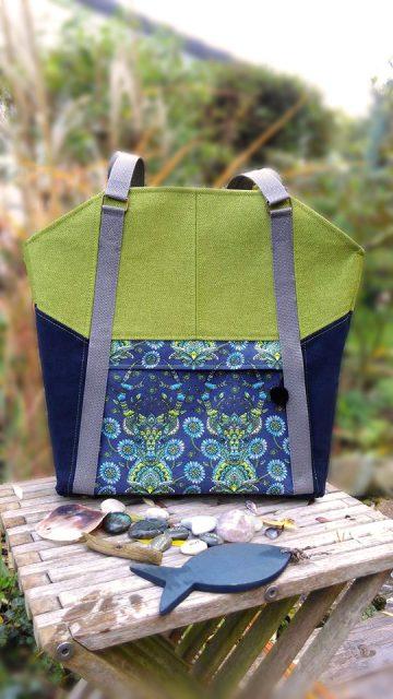 Tasche Lexa Hansedelli grün blau Tula Pink Deer Businesstasche nähen Shopper Schnittmuster