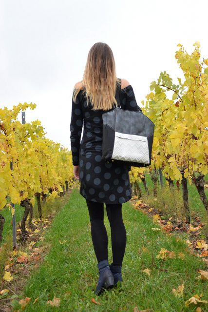Tasche Lexa Hansedelli schwarz silber elegante Businesstasche nähen Shopper Schnittmuster
