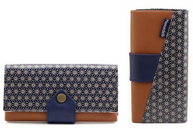 Ruby Onyx Hansedelli Asanoha japanisches Wachstuch blau Geldbörse nähen Portemonnaie Schnittmuster