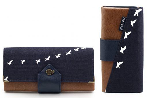 Ruby Onyx Hansedelli Birch Bio Canvas Vögel blau Druckknopf Vogel Geldbörse nähen Portemonnaie Schnittmuster