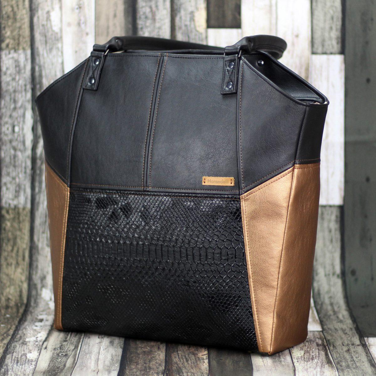 Lexa Hansedelli schwarz gold Schlangenkunstleder eleganter Shopper nähen Businessbag Schnittmuster Bürotasche