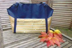 Tasche Lexa Big Hansedelli gold blau Wickeltasche nähen Weekender Schnittmuster Reisetasche