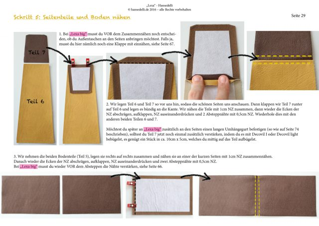 Einblick ins Ebook Lexa Hansedelli Kunstleder gelb Nähanleitung Shopper Schnittmuster Businessbag nähen