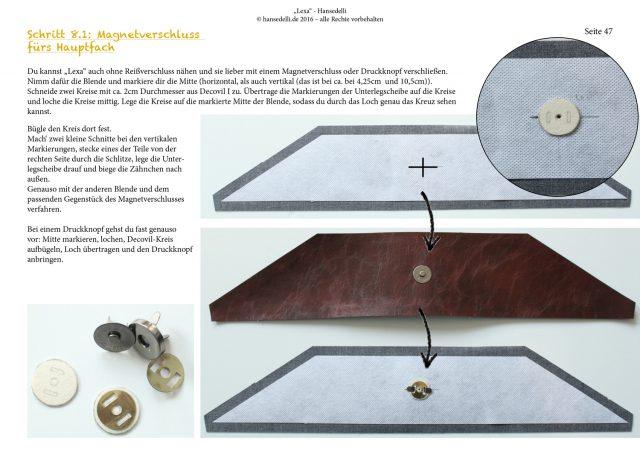 Einblick ins Ebook Lexa Hansedelli Kunstleder Magnetknopf befestigen Shopper Schnittmuster Businessbag nähen