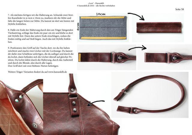 Einblick ins Ebook Lexa Hansedelli Kunstleder Träger selber nähen Shopper Schnittmuster Businessbag Tragegriffe machen