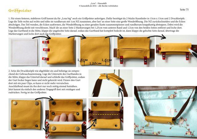Einblick ins Ebook Lexa Hansedelli Griffpolster nähen Kunstleder gelb kostenlose Nähanleitung