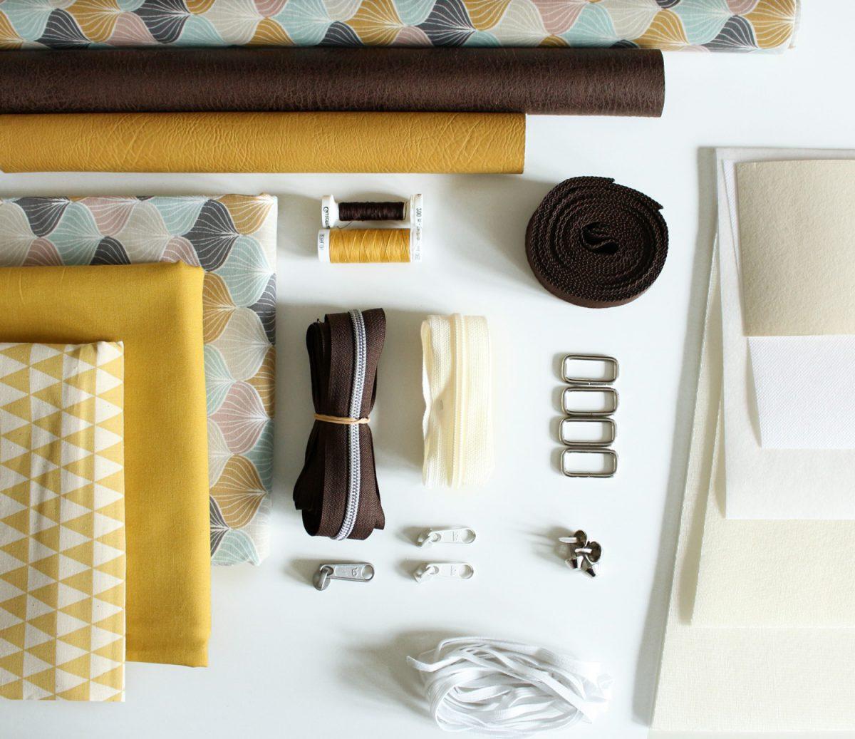 benötigtes Material Tasche Lexa Hansedelli Kunstleder Wachstuch Decovil Vlieseline Reißverschlüsse