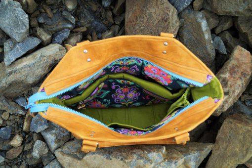 Tasche Lexa Hansedelli Innenansicht schlicht modern Leder Businesstasche nähen Shopper Schnittmuster