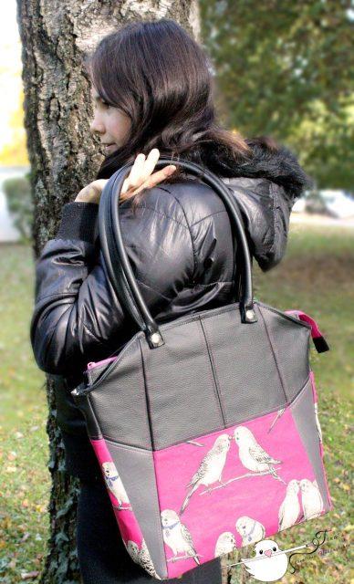 Tasche Lexa Hansedelli schwarz pink Vögel Businesstasche nähen Shopper Schnittmuster
