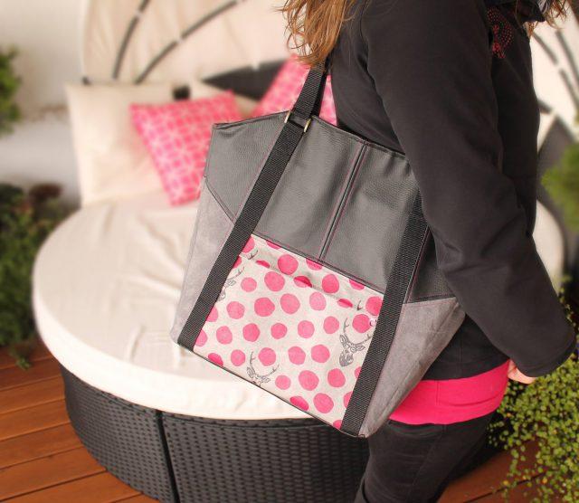 Tasche Lexa Hansedelli Echino Hirsch Kokka pink grau Businesstasche nähen Shopper Schnittmuster