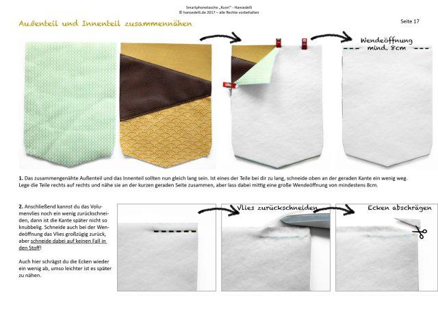 Freebook Smartphonetasche KUORI Hansedelli Blick ins Ebook Handytasche kostenloses Schnittmuster Täschchen nähen