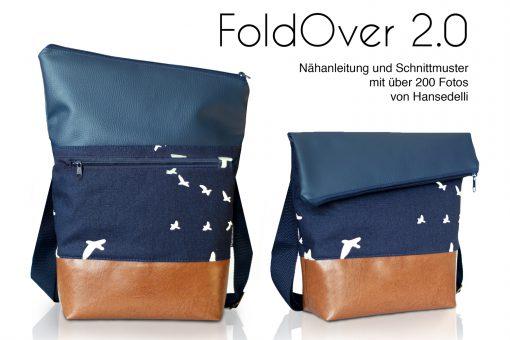 FoldOver 2.0 Set FoldOver Tasche und Geldbörse Ruby von Hansedelli Birch Vögel Bio-Canvas blau FoldOver Tasche nähen Portemonnaie Schnittmuster