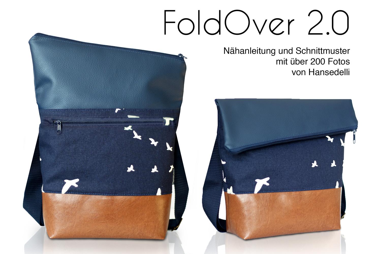 e1ed508e3dcdb FoldOver 2.0 Set FoldOver Tasche und Geldbörse Ruby von Hansedelli Birch  Vögel Bio-Canvas blau