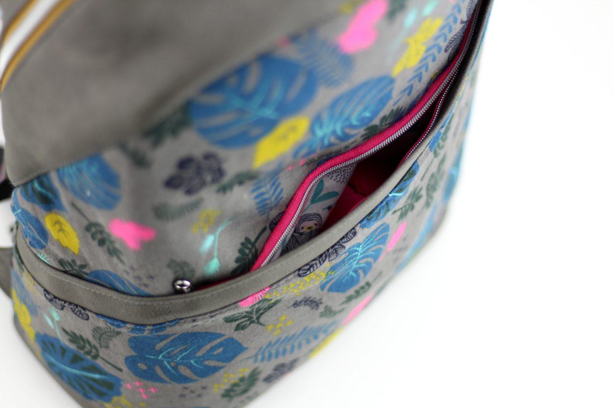 Rucksack ROANA Hansedelli Außenfach vorne Cotton Steel Dschungel Canvas Rucksack nähen Schnittmuster
