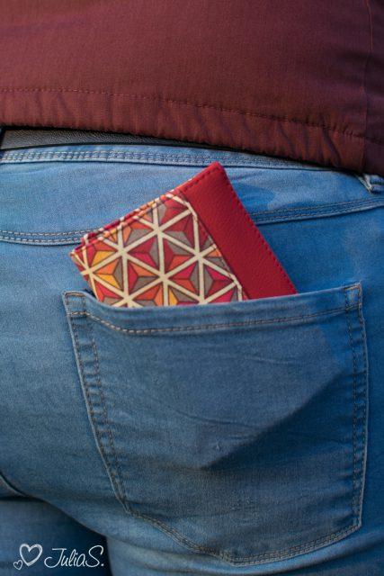 Mr Ryks Hansedelli geometrische Blumen rot gelb Männergeldbörse nähen Portemonnaie für Männer Schnittmuster Kindergeldbörse