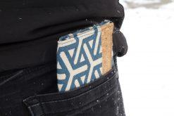 Mr Ryks Hansedelli Kork Canvas blau geometrisch Männergeldbörse nähen Portemonnaie für Männer Schnittmuster Kindergeldbörse