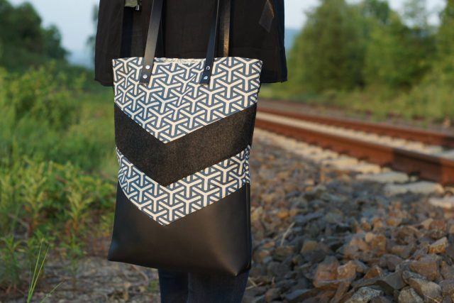 Varo Shopper Tasche nähen geometrisch schwarz Lederriemen