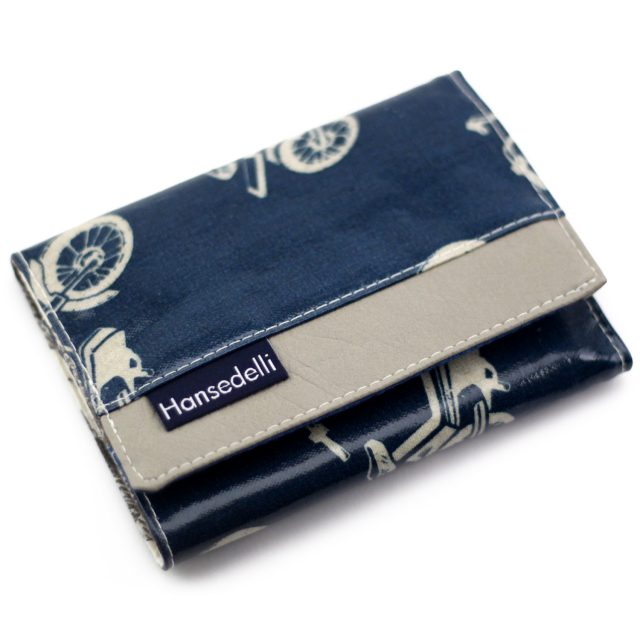 Mr Ryks Hansedelli Kokka Roller Echino blau Männergeldbörse nähen Portemonnaie für Männer Schnittmuster Kindergeldbörse