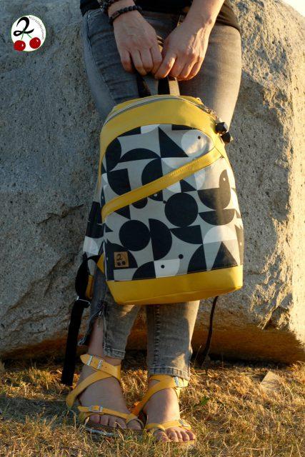 Rucksack ROANA von Hansedelli schwarz weiß gelb Rucksack nähen Schnittmuster
