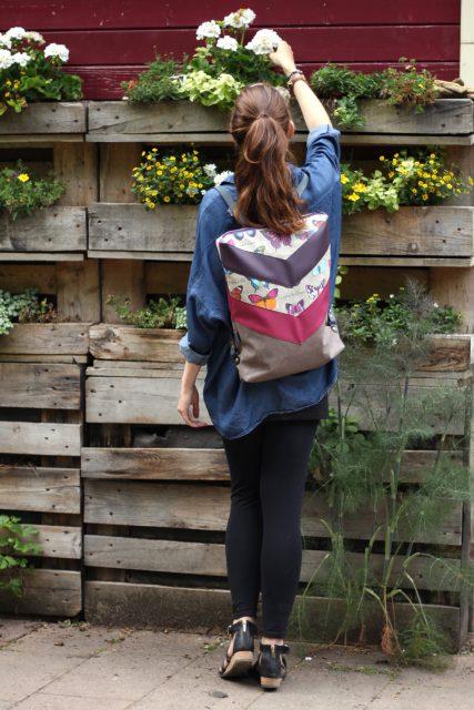 Varo Rucksack Schmetterlinge pink lila Hansedelli nähen