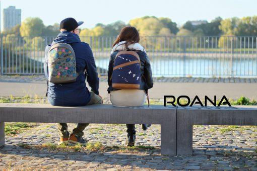 Rucksack ROANA Hansedelli Rucksack nähen Schnittmuster Birch Vogel Canvas blau Köln Rhein Cotton Steel Dschungel Canvas
