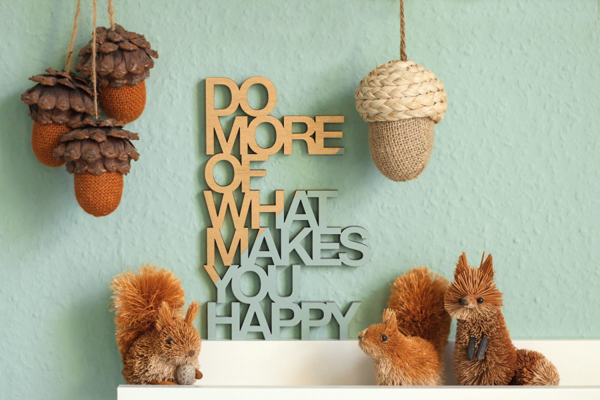 Do more of what makes you happy Holzschild gold mint mit Strohtiere