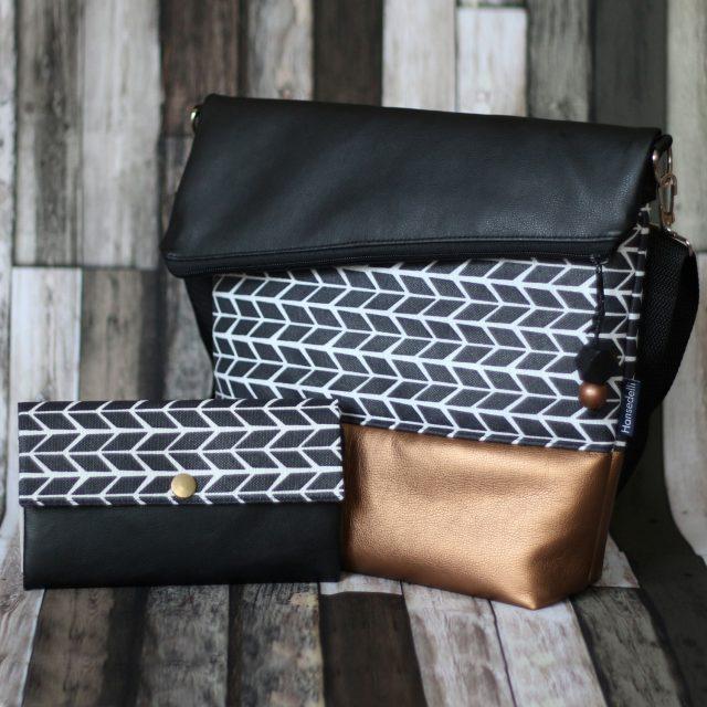 FoldOver Hansedelli Wachstuch schwarz weiß Kupfergold Kunstleder Tasche nähen Fold over Schnittmuster