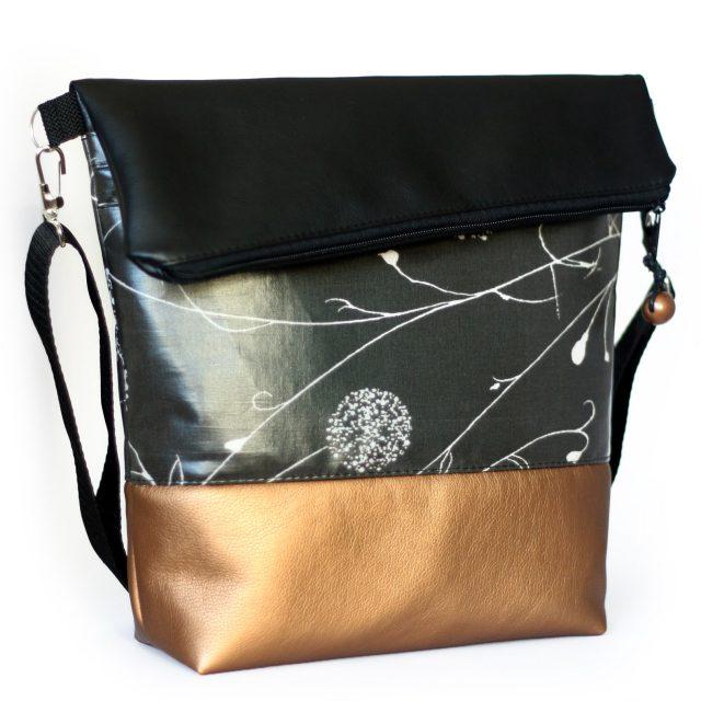 FoldOver Hansedelli schwarz Kupfergold Kunstleder Tasche nähen Fold over Schnittmuster