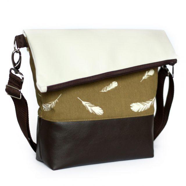 Tasche FoldOver von Hansedelli nähen Federn creme braun Schnittmuster Fold Over Tasche
