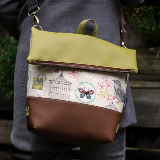 Tasche FoldOver von Hansedelli nähen grün braun Schnittmuster Fold Over Tasche