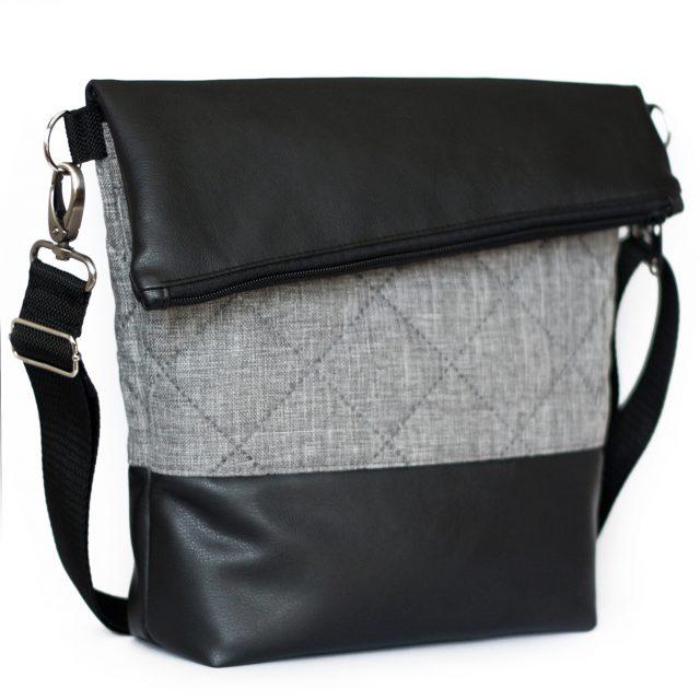 FoldOver Hansedelli schwarz grau gesteppt Steppstoff Kunstleder Tasche nähen Fold over Schnittmuster