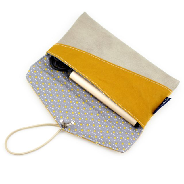 KUORI Smartphonetasche nähen Handytasche Gelb Grau Freebook