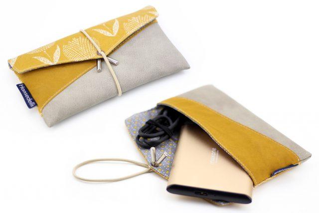 Kuori_Gelb-Grau Smartphonetasche externe Festplatte Täschchen nähen