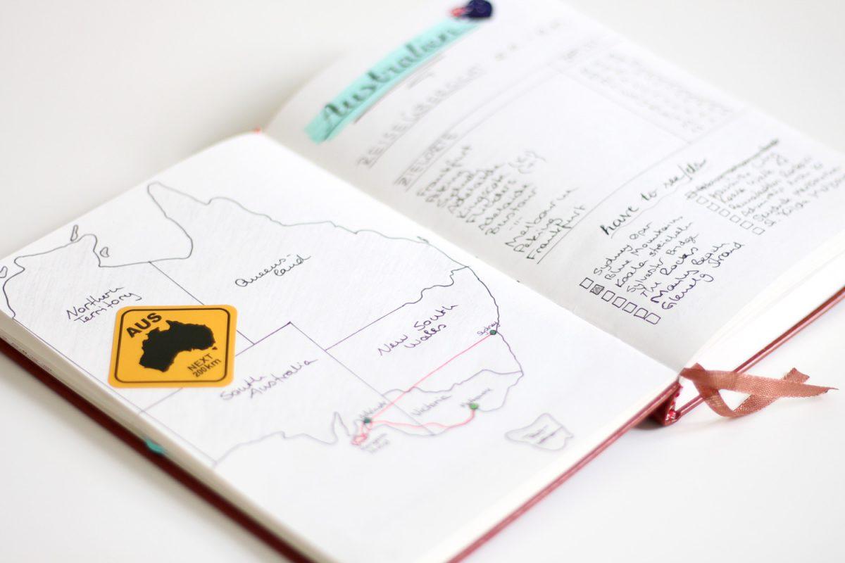 Australien Bullet Journal Landkarte Reiseroute Reiseplanung