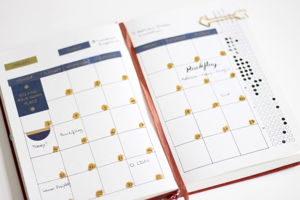 Bullet Journal Monatsübersicht Monthly Log Januar 2019 gold blau